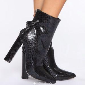 Black snake skin boots